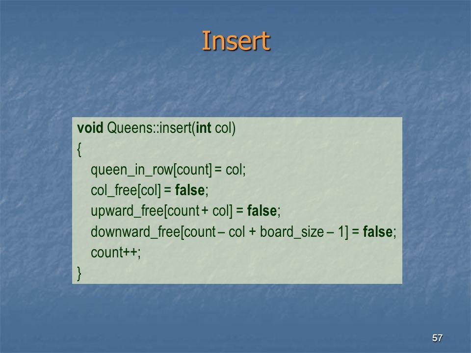 Insert void Queens::insert(int col) { queen_in_row[count] = col;